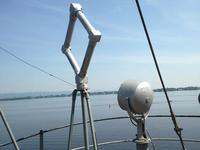 Pilothouse roof spotlight and RDF antenna